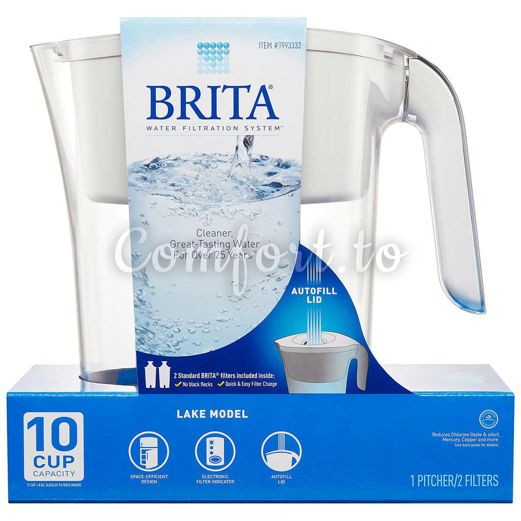 Brita Lake 2.4 L (10-Cup) Pitcher With 2 Filters - 2 filters