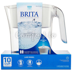 Brita Lake 2.4 L (10-Cup) Pitcher With 2 Filters, 2 filters