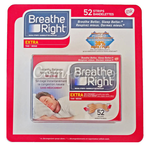 Breathe Right Nasal Strips Extra Tan, 52 packs