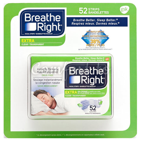 Breathe Right Extra Clear Nasal Strips, 52 packs