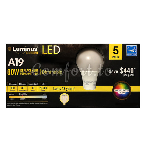 Luminus Dimmable A19 LED 10W 60W Replacement - 5 units