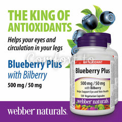 Webber Naturals Blueberry Plus, 500Mg / 50Mg With Bilberry, 120 caps
