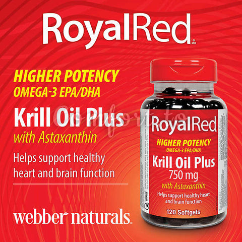 Webber Naturals – Royalred Krill Oil Plus 750 mg With Astaxanthin, 120 softgels