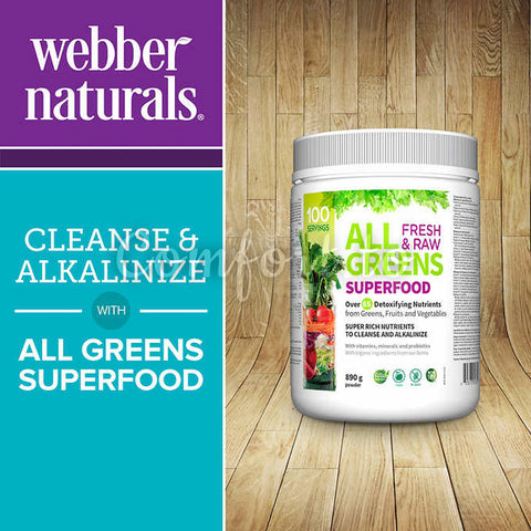 Webber Naturals – All Greens Superfood 100 Servings – 890G Powder, 890 g