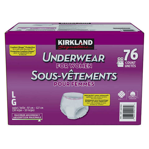 $10 OFF - Kirkland Signature Protective Underwear Women L/XL, 76 units