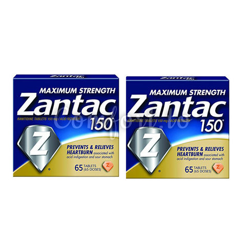 Zantac Maximum Strength 150 Ranitidine, Acid Reducer, 2 x 65 tablets
