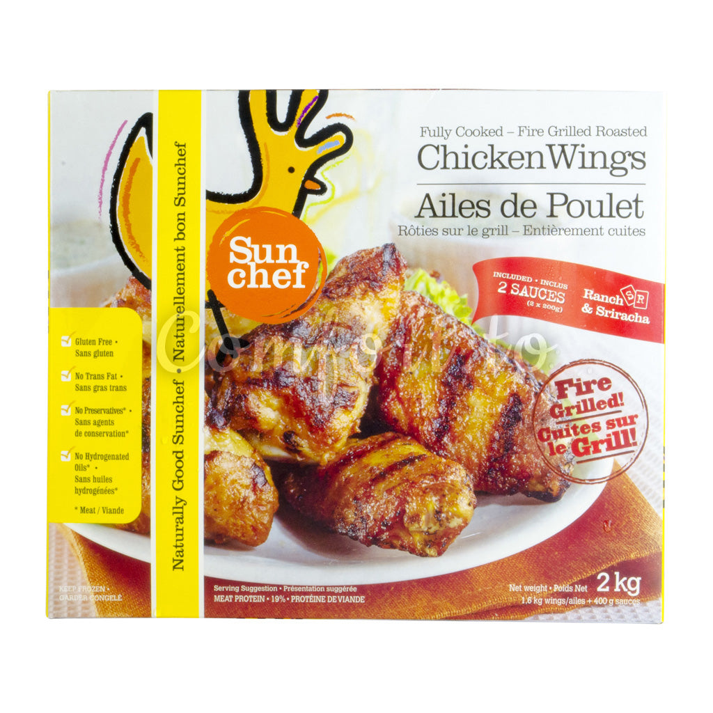 Sun Chef Forzen Fully Cooked Chicken Wings, Fire Grilled, 2 kg