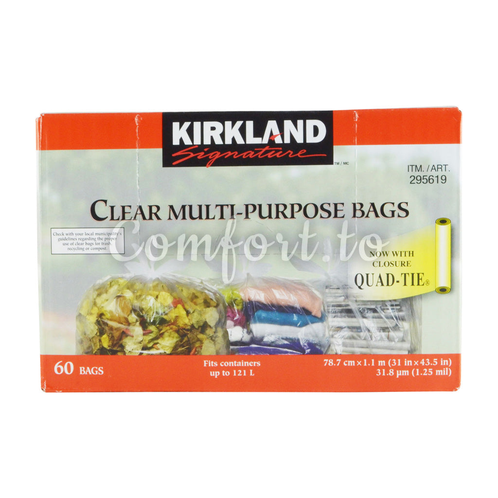 "Kirkland Signature Clear Garbage Bags 31"" X 43.5"", 60 bags"
