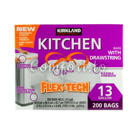 Kirkland Signature Kitchen Bags with Drawstrings, 200 units