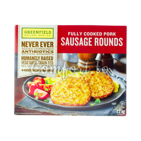 Frozen Greenfield Fully Cooked Pork Sausage Rounds, 1.2 kg