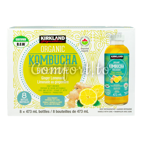 Kirkland Signature Organic Kombucha Ginger Lemonade, 8 x 473 mL