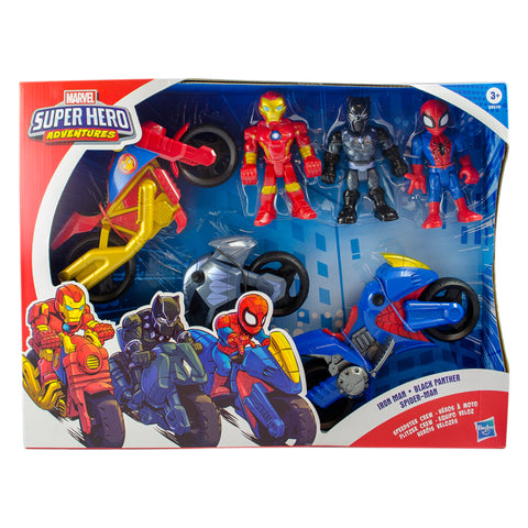 Marvel Super Hero Adventures Iron Man Black Panther Spinder-Man, 1 set