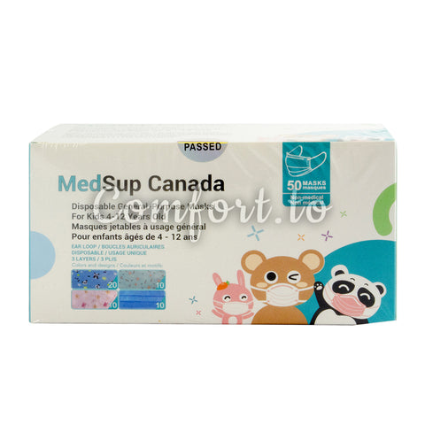 MedSup Canda Disposable Masks for Kids 4-12 Years Old, 50 units