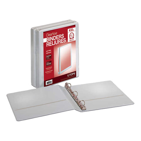TOPS ClearVue View 1-in White Binders, 4 units