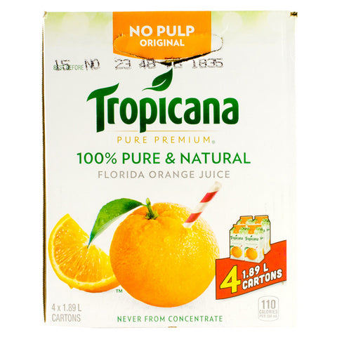 Tropicana Orange Juice No Pulp, 4 x 1.9 L