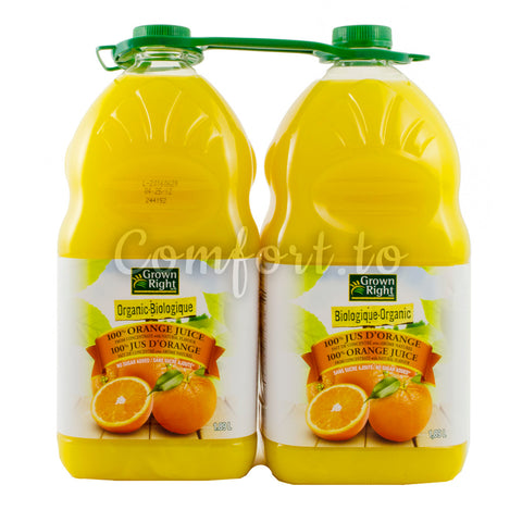 Grown Right Organic Orange Juice, 2 x 1.9 L