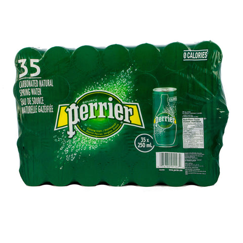 Perrier Carbonated Natural Water Cans, 35 x 250 mL