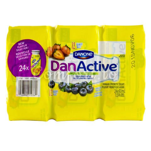 Danone Dan Active Drinkable Yogourt 1.5%, 24 x 93 mL