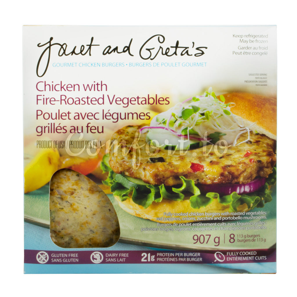 Janet and Greta's Fully Cooked Chicken Burgers - 907g