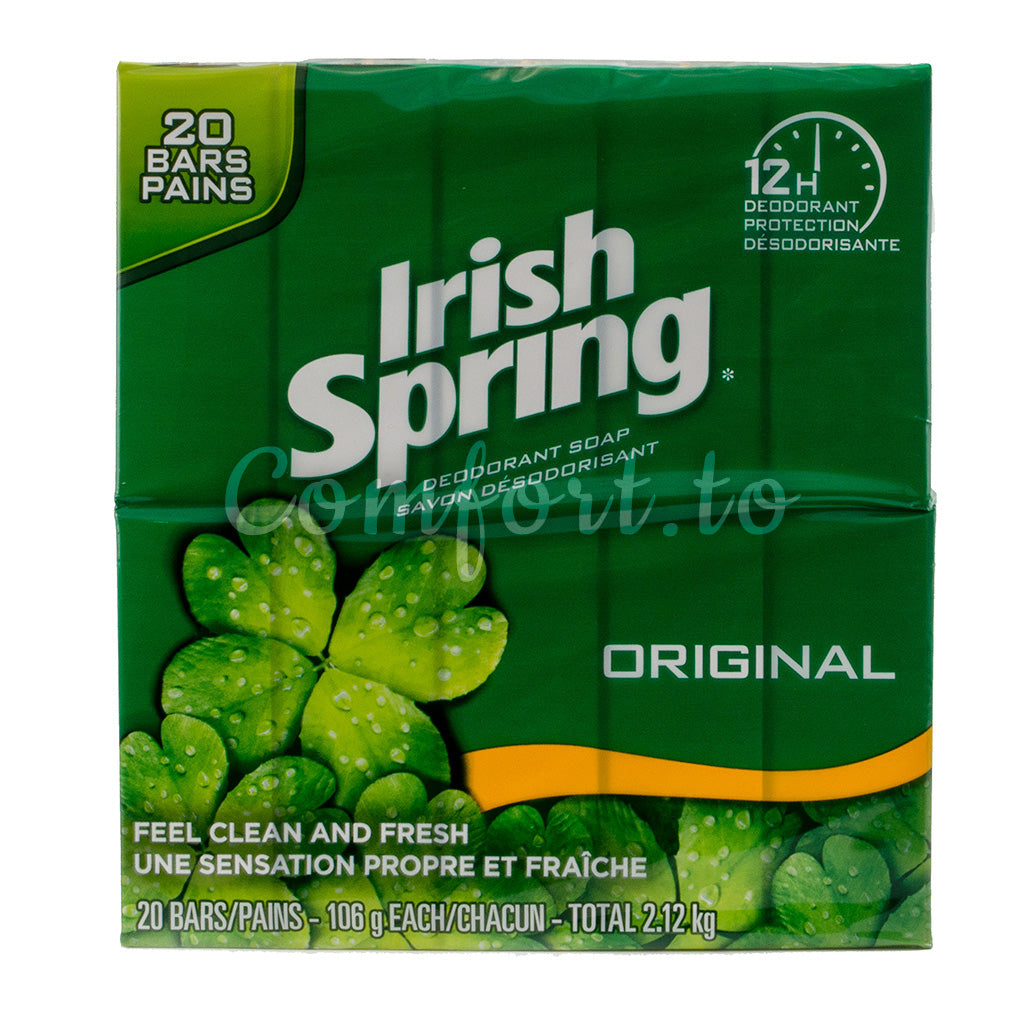 Irish Spring Original Deodorant Bar Soap, 20 x 106 g