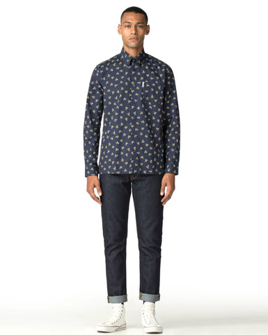 ben sherman casino long sleeve shirt in off white
