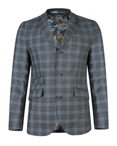 Gabicci Vintage Suit - Check Jacket in Pewter