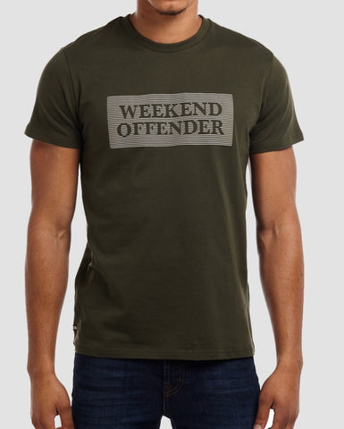 weekend offender t shirt groves in spruce