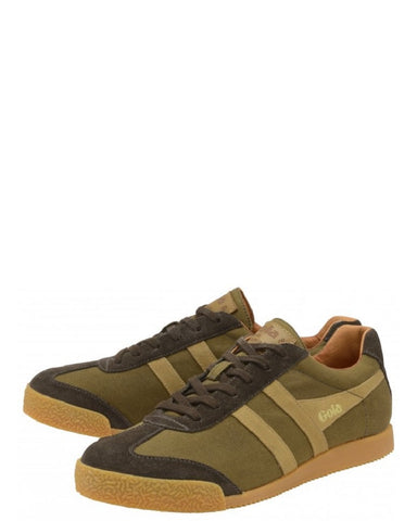 Gola Harrier Millerain Trainers Olive Brown