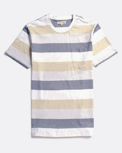 Far Afield BOLD STRIPE T Shirt Cloudburst Grey