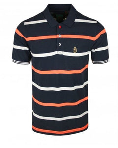 Luke Polo Stripe NEW MEAD Navy - indi menswear