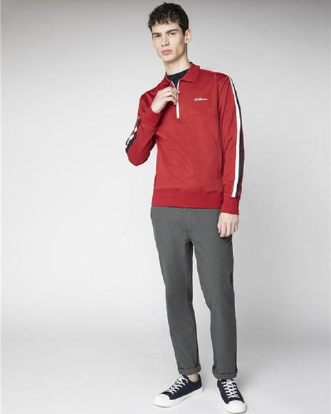 Ben Sherman Quarter Zip Tricot Top Red
