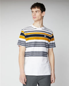 Ben Sherman Reverse Knit Stripe T Shirt Snow White