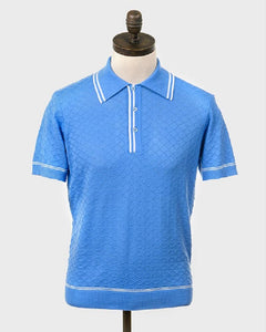 Art Gallery Clothing McGRIFF Knitted Polo Shirt Sky Blue