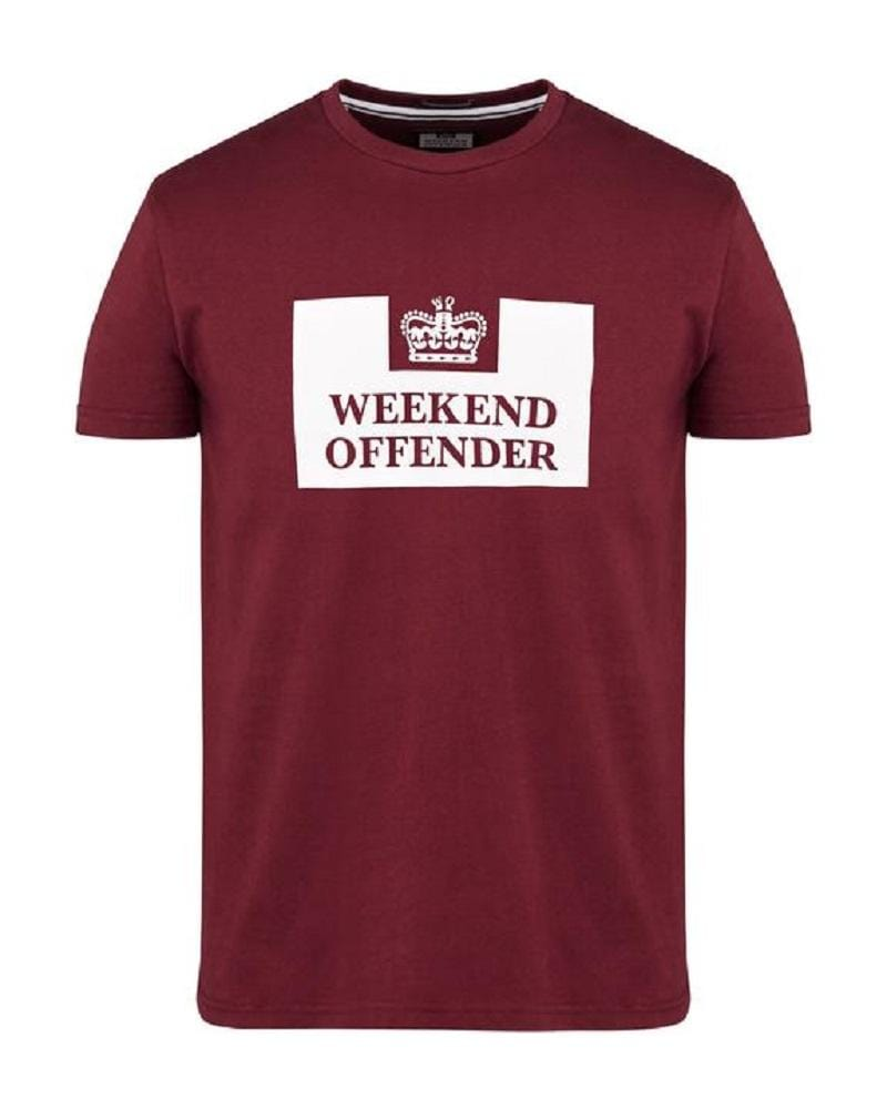 Weekend Offender T Shirt PRISON Burgundy
