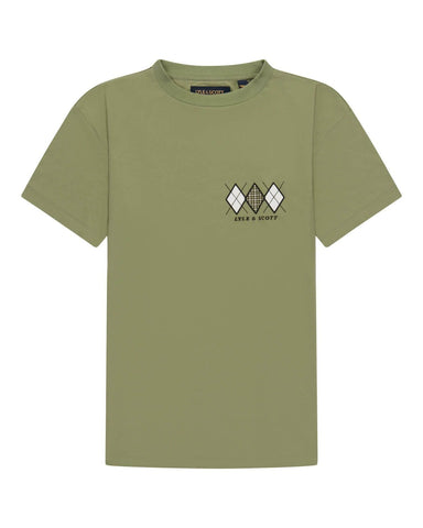Lyle and Scott Archive DIAMOND APPLIQUE T SHIRT Moss