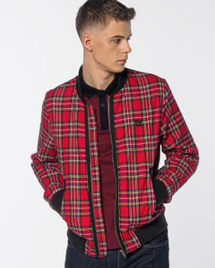 Merc London AINSLIE Tartan Bomber Jacket Red