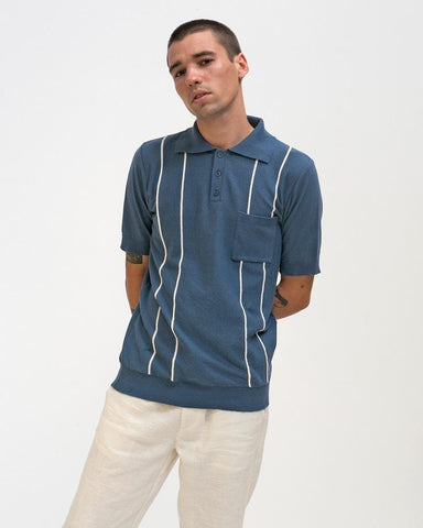 Far Afield ALFARO Polo Ensign Blue/White