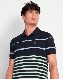 Lyle and Scott Polo Block Stripe Dark Navy