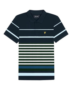 Lyle and Scott Block Stripe Polo Dark Navy