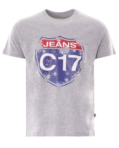 C17 Jeans Logo T Shirt Grey