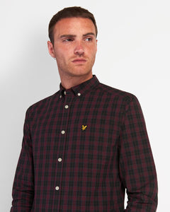 Lyle and Scott Check Poplin Shirt Jet Black/Burgundy