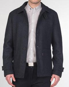 Merc London CHISWICK Tweed Donkey Jacket Navy Marl