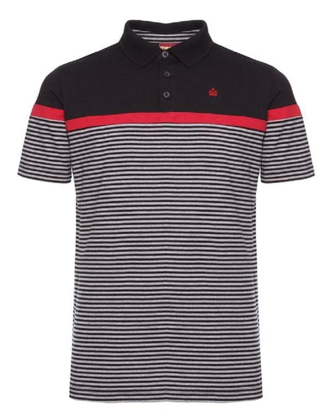 Merc London CLARENCE Striped Polo Black