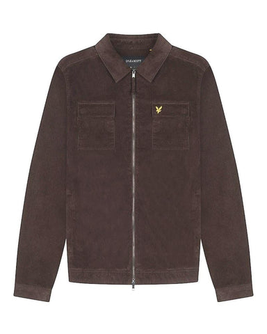 Lyle and Scott Cord Zip-Through Overshirt Cocoa