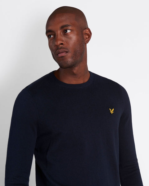 Lyle and Scott Cotton Merino Crew Jumper Dark Navy