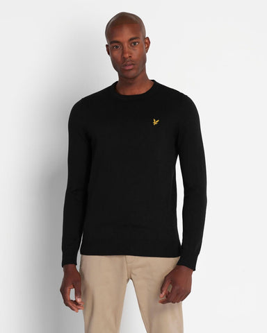 Lyle and Scott Cotton Merino Crew Jumper Jet Black