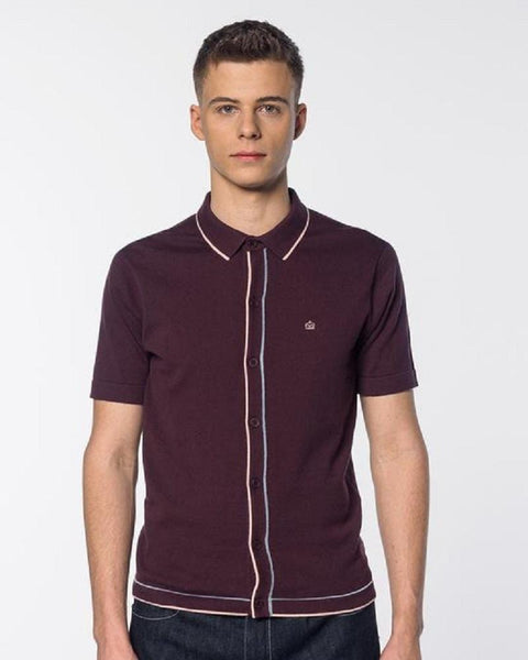 Merc London DEVON Polo Knit Grape