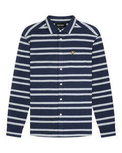 Lyle and Scott Double Stripe Brushed Shirt Navy/Vanilla Ice