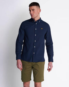 Lyle and Scott Cotton Linen Shirt Navy - indi menswear