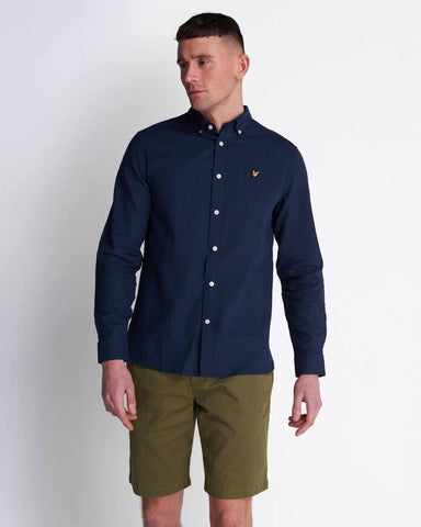 Lyle and Scott Cotton Linen Shirt Navy